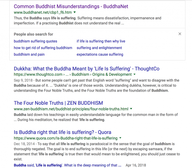 "google search for Buddha ""life is suffering"""